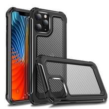 Voor iPhone 12 Pro Transparante koolstofvezelstructuur Robuuste Full Body TPU+PC Krasbestendige schokbestendige behuizing(Zwart)