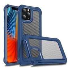 Voor iPhone 12 Pro Transparante koolstofvezelstructuur Robuuste Full Body TPU+PC Krasbestendige schokbestendige behuizing(Blauw)