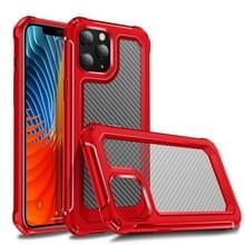 Voor iPhone 12 Pro Transparante koolstofvezelstructuur Robuuste Full Body TPU+PC krasbestendige schokbestendige behuizing(rood)