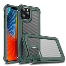 Voor iPhone 12 Pro Max Transparante koolstofvezelstructuur Robuuste Full Body TPU+PC Krasbestendige schokbestendige case (Army Green)