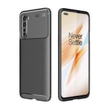 Voor OnePlus Nord Carbon Fiber Texture Shockproof TPU Case(Zwart)