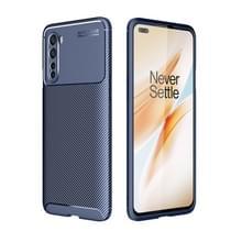 Voor OnePlus Nord Carbon Fiber Texture Shockproof TPU Case(Blauw)