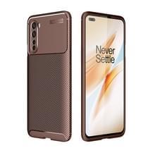 Voor OnePlus Nord Carbon Fiber Texture Schokbestendige TPU Case(Bruin)