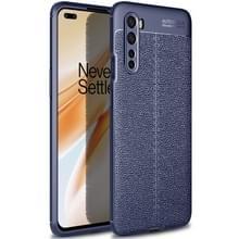 Voor OnePlus Nord Litchi Texture TPU Shockproof Case (Navy Blue)