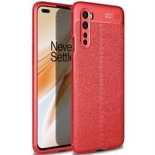 Voor OnePlus Nord Litchi Texture TPU Shockproof Case(Rood)