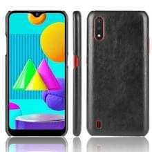 Voor Samsung Galaxy M01 Schokbestendige Litchi Texture PC + PU Case(Zwart)