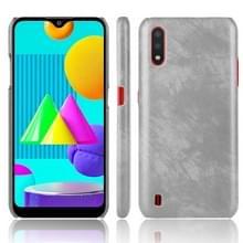 Voor Samsung Galaxy M01 Schokbestendige Litchi Texture PC + PU Case(Grijs)