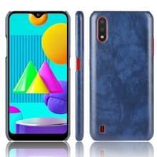 Voor Samsung Galaxy M01 Schokbestendige Litchi Texture PC + PU Case(Blauw)