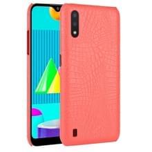 Voor Samsung Galaxy M01 Schokbestendige Crocodile Texture PC + PU Case(Rood)