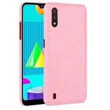 Voor Samsung Galaxy M01 Schokbestendige Crocodile Texture PC + PU Case(Pink)