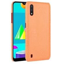 Voor Samsung Galaxy M01 Schokbestendige Crocodile Texture PC + PU Case(Oranje)
