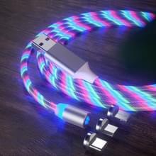 3 in 1 USB naar 8 Pin + Type-C / USB-C + Micro USB Magnetic Absorption Kleurrijke Streamer Oplaadkabel  lengte: 1 m (Kleurlicht)