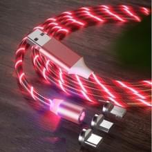 3 in 1 USB naar 8 Pin + Type-C / USB-C + Micro USB Magnetic Absorption Kleurrijke Streamer Oplaadkabel  lengte: 1 m (Rood licht)