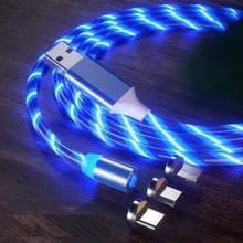 3 in 1 USB naar 8 Pin + Type-C / USB-C + Micro USB Magnetic Absorption Kleurrijke Streamer Oplaadkabel  lengte: 1 m (Blauw licht)