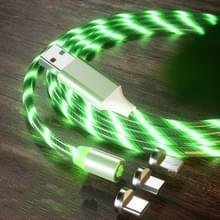 3 in 1 USB naar 8 Pin + Type-C / USB-C + Micro USB Magnetic Absorption Kleurrijke Streamer Oplaadkabel  lengte: 1 m (Groen licht)