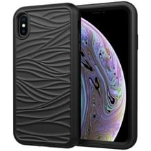 Voor iPhone X & XS Wave Pattern 3 in 1 Siliconen+PC Schokbestendige beschermhoes(Zwart)
