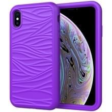 Voor iPhone X & XS Wave Pattern 3 in 1 Siliconen+PC Schokbestendige beschermhoes(Paars)