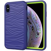 Voor iPhone XS Max Wave Pattern 3 in 1 Siliconen +PC Schokbestendige beschermhoes (Navy+Olivine)