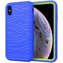 Voor iPhone XS Max Wave Pattern 3 in 1 Siliconen+PC Schokbestendige beschermhoes (Blue+Olivine)