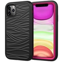 Voor iPhone 11 Pro Wave Patroon 3 in 1 Siliconen +PC Schokbestendige beschermhoes (Zwart+Hot Pink)