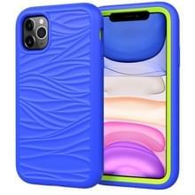 Voor iPhone 11 Pro Wave Patroon 3 in 1 Siliconen +PC Schokbestendige beschermhoes (Blue+Olivine)