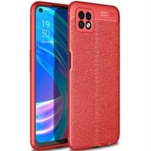 Voor OPPO A72 Litchi Texture TPU Shockproof Case(Rood)