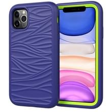 Voor iPhone 11 Pro Max Wave Pattern 3 in 1 Siliconen+PC Schokbestendige beschermhoes (Navy+Olivine)