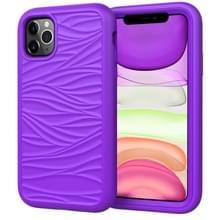 Voor iPhone 11 Pro Max Wave Pattern 3 in 1 Siliconen+PC Schokbestendige beschermhoes(Paars)