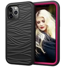 Voor iPhone 12 Pro Max Wave Pattern 3 in 1 Siliconen+PC Schokbestendige beschermhoes (Zwart+Hot Pink)