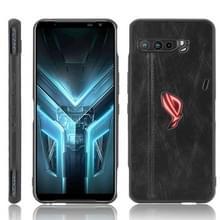 Voor Asus ZS661KS/ ROG Phone 3 Strix Schokbestendige naaikoeienpatroon skin PC + PU + TPU case(zwart)