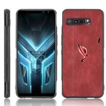 Voor Asus ZS661KS/ ROG Phone 3 Strix Schokbestendige naaikoeienpatroon skin PC + PU + TPU case(rood)