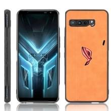 Voor Asus ZS661KS/ ROG Phone 3 Strix Schokbestendige naaikoeienpatroon skin PC + PU + TPU case(oranje)