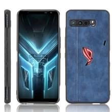 Voor Asus ZS661KS/ ROG Phone 3 Strix Schokbestendige naaikoeienpatroon skin PC + PU + TPU case(blauw)