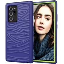 Voor Samsung Galaxy Note20 Wave Pattern 3 in 1 Siliconen +PC Schokbestendige beschermhoes (Navy+Olivine)