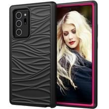Voor Samsung Galaxy Note20 Wave Pattern 3 in 1 Siliconen +PC Schokbestendige beschermhoes (Zwart+Hot Pink)