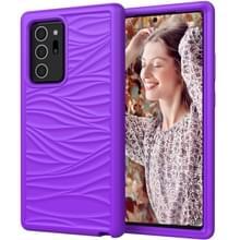 Voor Samsung Galaxy Note20 Wave Pattern 3 in 1 Siliconen+PC Schokbestendige beschermhoes(Paars)