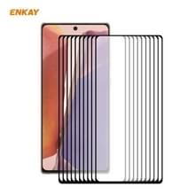 10 PC's voor Samsung Galaxy Note 20 ENKAY Hat-Prince volledige lijm 0 2 mm 9H 2.5D Gehard glas volledige dekking film ondersteuning vingerafdruk ontgrendelen