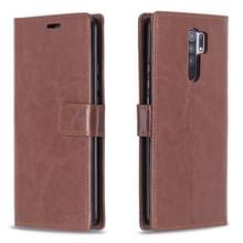 Voor Xiaomi Redmi 9 Crazy Horse Texture Horizontale Flip Lederen Case met Holder & Card Slots & Wallet & Photo Frame(Brown)