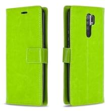 Voor Xiaomi Redmi 9 Crazy Horse Texture Horizontale Flip Lederen Case met Holder & Card Slots & Wallet & Photo Frame(Groen)