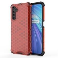 Voor OPPO Realme 6 Shockproof Honeycomb PC + TPU Case(Red)