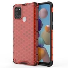 Voor Samsung Galaxy A21S schokbestendige honingraat PC + TPU Case(Rood)
