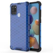 Voor Samsung Galaxy A21S schokbestendige honingraat PC + TPU Case(Blauw)