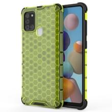 Voor Samsung Galaxy A21S schokbestendige honingraat PC + TPU case(groen)
