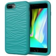 Voor iPhone 6/7/8 Plus Wave Patroon 3 in 1 Siliconen +PC Schokbestendige beschermhoes (Donkergroen)