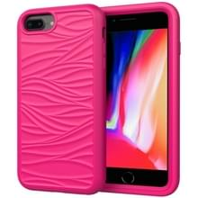 Voor iPhone 6/7/8 Plus Wave Patroon 3 in 1 Siliconen + PC Schokbestendige beschermhoes (Hot Pink)