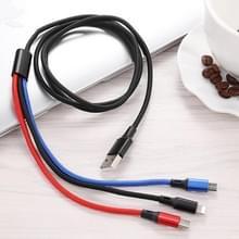 3 in 1 USB naar 8 Pin + Type-C / USB-C + Micro USB Color Gevlochten oplaadkabel  kabellengte: 1 2 m