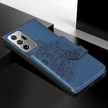 Voor Samsung Galaxy Note 20 Ultra Mandala Reliëf Magnetische doek PU + TPU + PC Case met Holder & Card Slots & Wallet & Photo Frame & Strap(Blue)