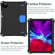 Voor iPad Air 2020 10.9 Honeycomb Design EVA + PC Material Four Corner Anti Falling Flat Protective Shell met strap (Zwart+Blauw)