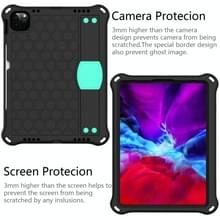 Voor iPad Air 2020 10.9 Honeycomb Design EVA + PC Material Four Corner Anti Falling Flat Protective Shell met strap (Zwart+Mint Green)