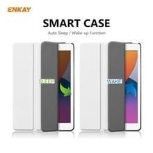 Voor iPad 10.2 2020 / 2019 ENKAY ENK-8014 PU Leder + Plastic Smart Case met drie vouwen houder(wit)